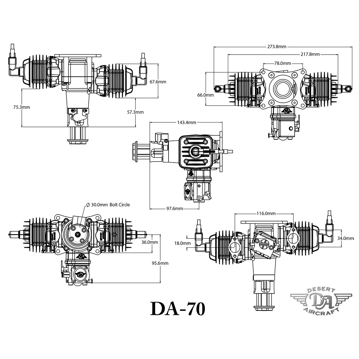 Desert Aircraft 70cc Twin Petrol Engine - DA-70 - Rs 71,512 00