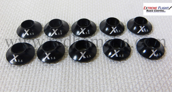 Extreme Flight Washer with O ring 3mm - Black 10pcs