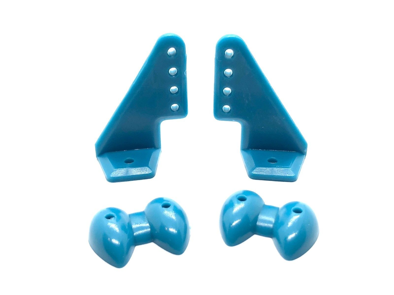POM Control Horn 04 Holes - 20x27mm (Pack of 5) Blue