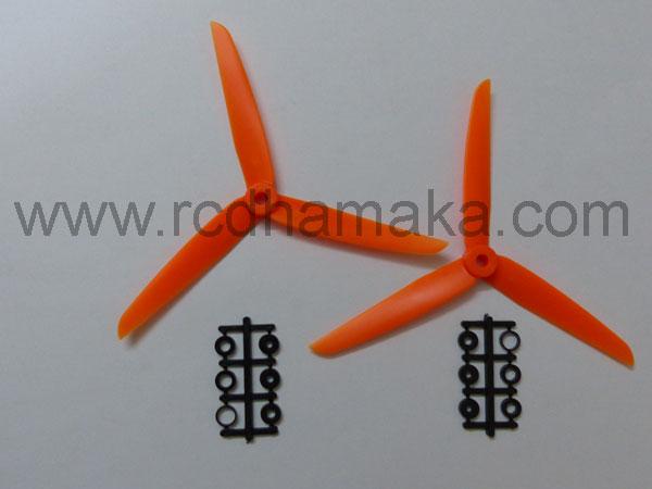 Quadcopter Propeller 3 Blade 7x3.5 Pair Orange